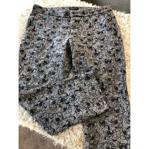 Banana Republic Grey and Black Floral Pants